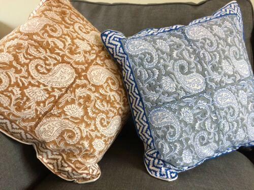 "Hand block printed PAISLEY Indian Cushion Cover 16x16/"" 40x40 ethnic alternative"