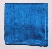 Hankie Pocket Square Handkerchief 100% SILK DUPION SAPHIRE BLUE  - UK Made