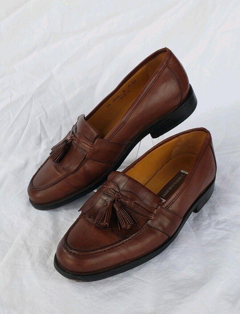 Mens Johnston Murphy Brown Leather Tassel Dress Shoes Sz 9 M Slip On Loafers