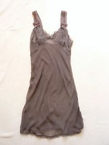 Stella-McCartney-NEW-taupe-silk-chemise-slip-petticoat-Lace-trim-Size-M-UK-10