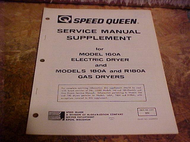 Speed Queen Dryer Service Manual Supplement 160a  U0026 180a