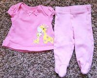 Girl's Size Preemie 2 Piece Pink Giraffe Carter's Top & Koala Baby Footed Pants