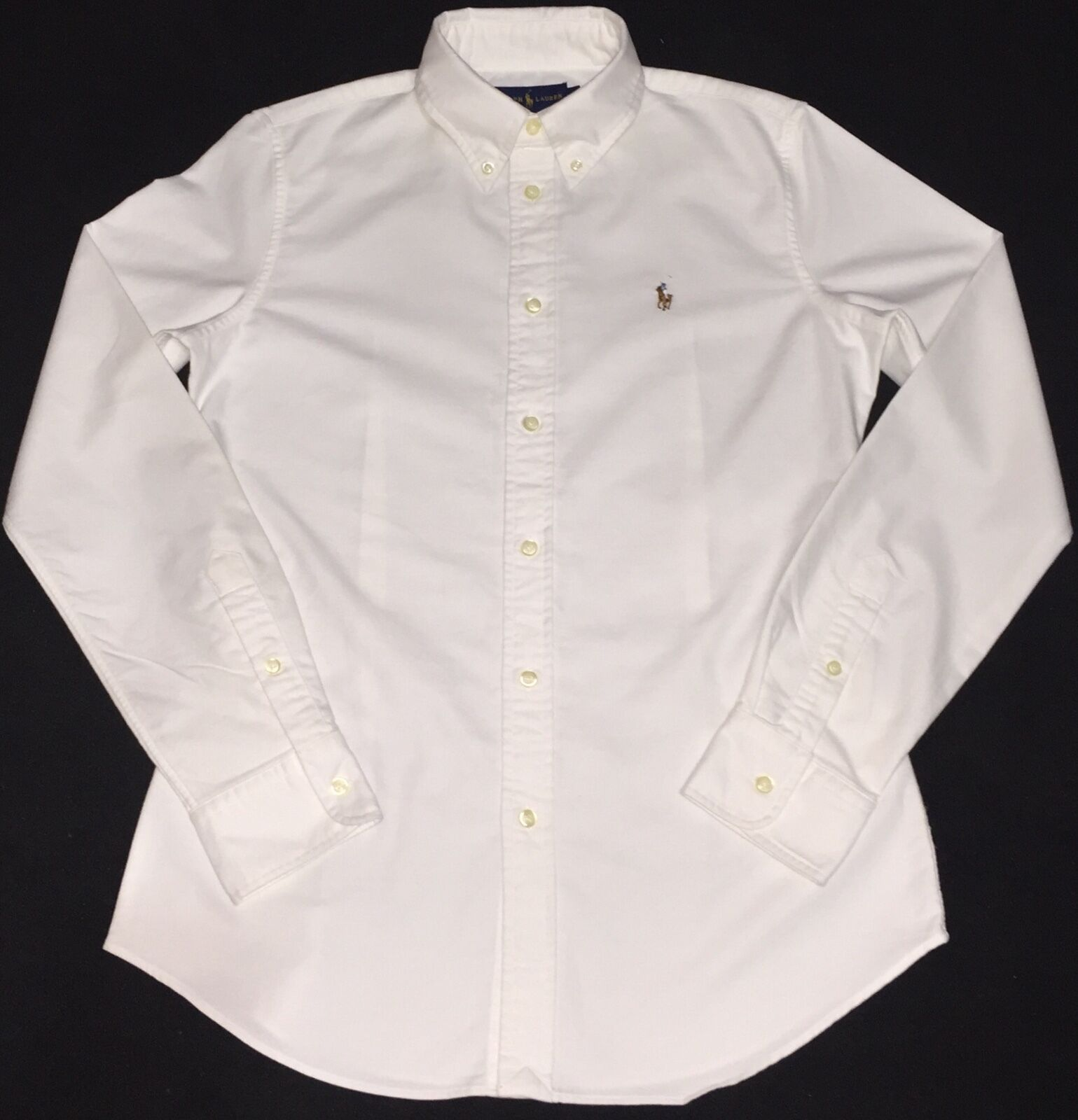 Ralph Lauren Custom Fit Camicia Oxford In Bianco