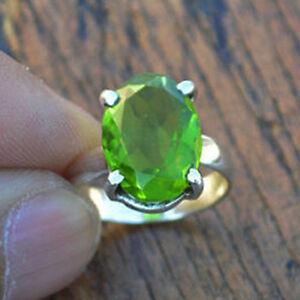 Prong-Set-Peridot-Quartz-925-Sterling-Silver-Artisan-Handmade-Gift-Ring-Size-8