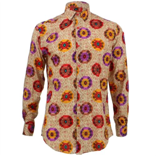 Mens Shirt Loud Originals TAILORED FIT Kaleidoscope Red Retro Psychedelic Fancy