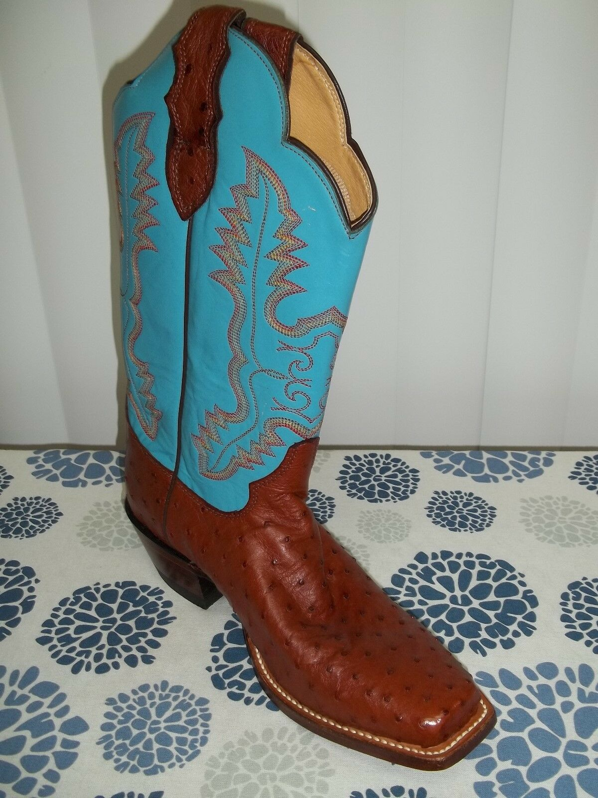 Women's Amputee Justin Quill Genuine Ostrich bluee LEFT BOOT ONLY Size 8.5B  NWOT