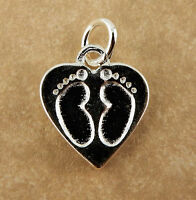 Sterling Silver Baby Feet In Heart Charm With Jump Ring