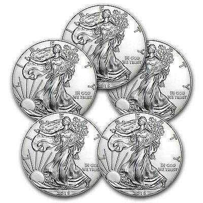 2015 1 oz Silver American Eagle BU (Lot of 5) - SKU #87832