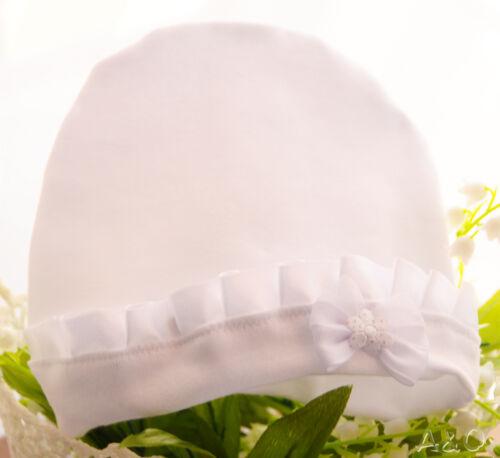 Erstlingsmütze Baby Mütze Weiß 50 56 62 68 74 NEU Weißes Mützchen Taufe Rüschen