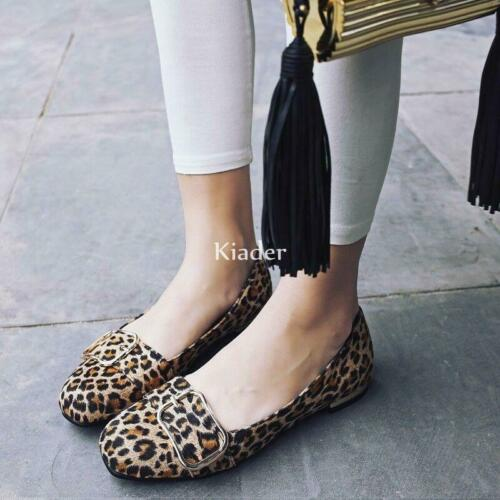 Details about  /Womens Faux Suede Leopard Gommino Slip On Loafers Flats Casaul Comfort Shoes new