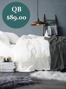 Queen Size 1000TC Egyptian Cotton 40cm Deep Fitted Flat Sheet Pillowcase Set