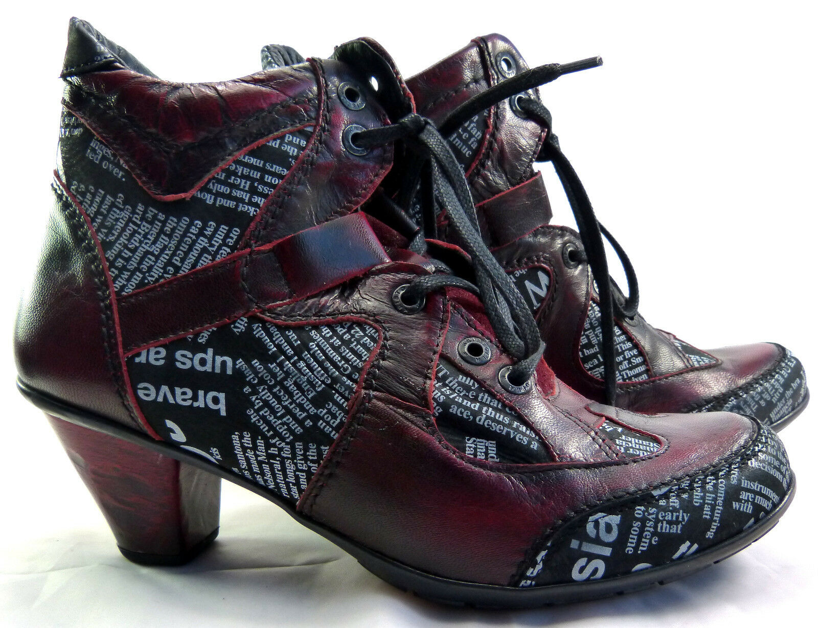 Kristofer Damen Stiefelette Gr. 40 rot bordGoldt Stiefel Stiefel Schuhe Leder neu