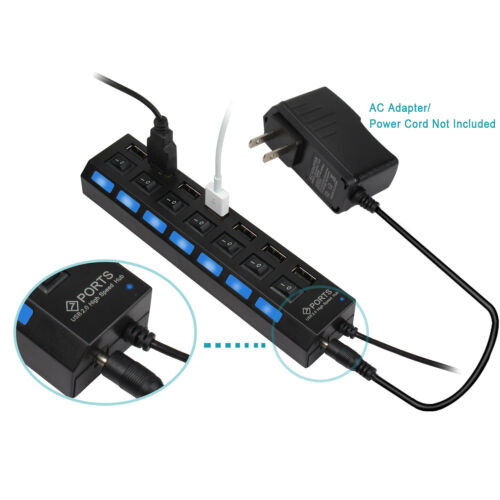 High Speed Adapter ON//OFF Switch Laptop//PC 7-Port USB2.0 LED Multi Charger Hub