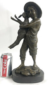Real-Bronze-Metal-Statue-on-Marble-Base-Young-Farm-Boy-amp-His-Sheep-Sculpture-NR