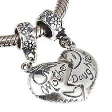 MOTHER & DAUGHTER  MUM 925 Sterling Silver Plated charm bead european bracelet
