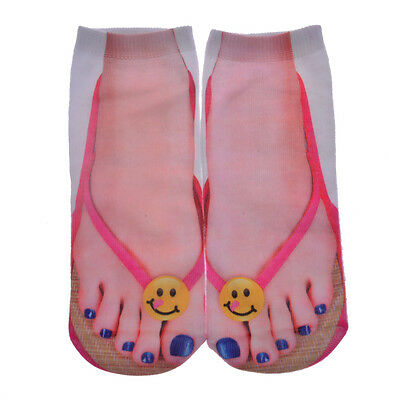1 Pair Casual Women Men Cotton 3D Printed Lovely Expression Low Cut Ankle Socks