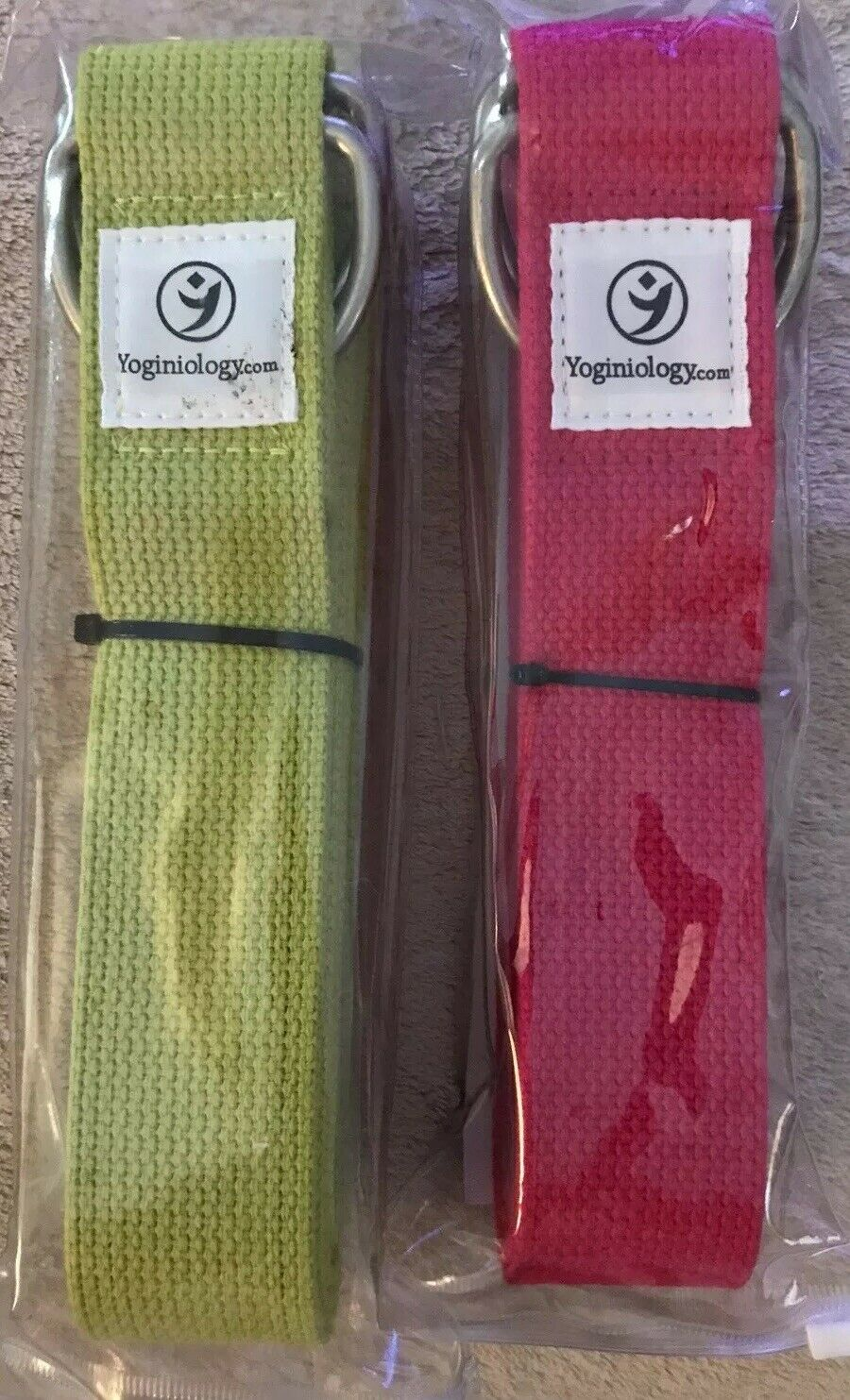 YOGA STRAPS by Yoginiology, Set of Two Straps 1 Pink 1 Green, Exercise, Yoga…