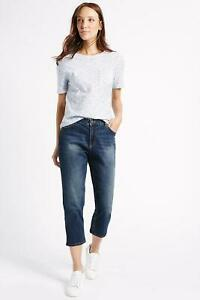 MARKS-amp-SPENCER-M-amp-S-Womens-Relaxed-Fit-Crop-Jeans-Blue-Wash