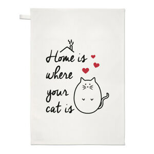 d8062b735d8e9 Details about Home Is Where Your Cat Is Tea Towel Dish Cloth - Crazy Cat  Lady Kitten Funny