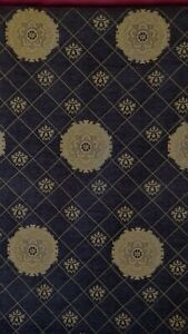 Chenille-Upholstery-Fabric-by-the-yard-Medallion-Style-58-034-wide-black-gold-so
