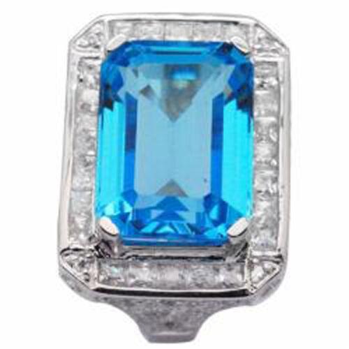 De Buman 23.54ctw Genuine Swiss Blue Topaz 18KY /& 925 Silver Ring Size 7