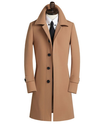 England Retro Mens Slim Fit Wool Coat Business Formal Winter Jacket Trench Coats
