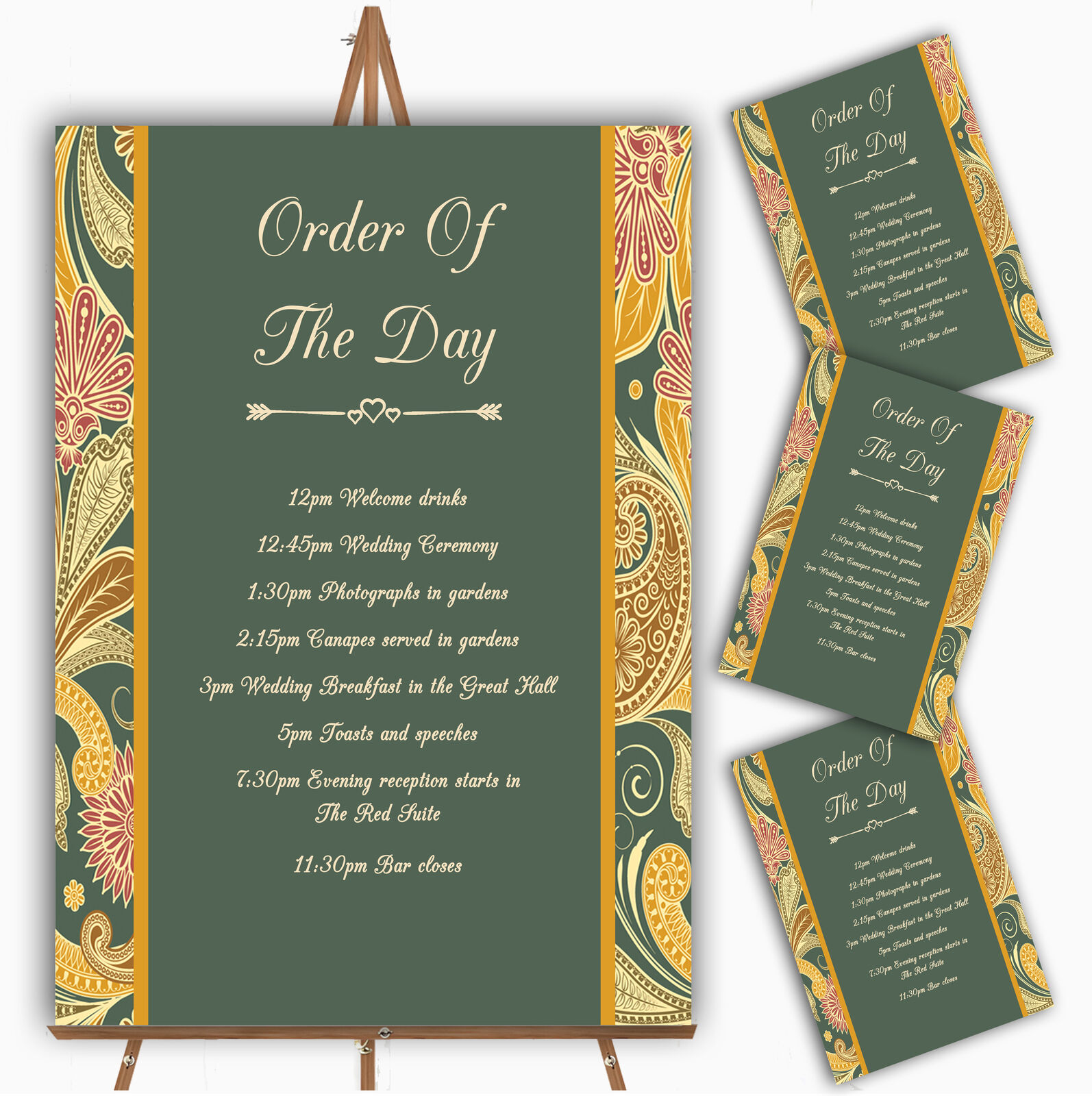 Grün Gelb Orange Vintage Personalised Wedding Order Of The Day Cards & Signs