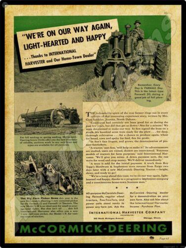 1938 International New Metal Sign McCormick Deering Farmall F-20 Tractor