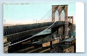 Brooklyn-New-York-NY-RARE-PRE-1908-UNUSED-POSTCARD-EAST-RIVER-BRIDGE-Z4