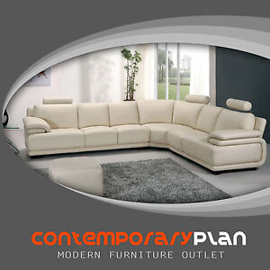 Modern Cream Leather Sectional L Shaped Italian Leather Sectional ...