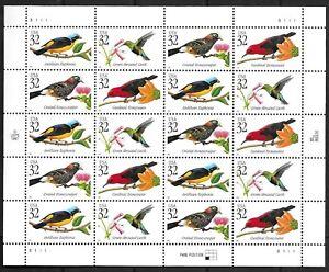 US Stamps 32 C oiseaux tropicaux #3222-25 complet feuille de 20 neuf sans charnière, superbe