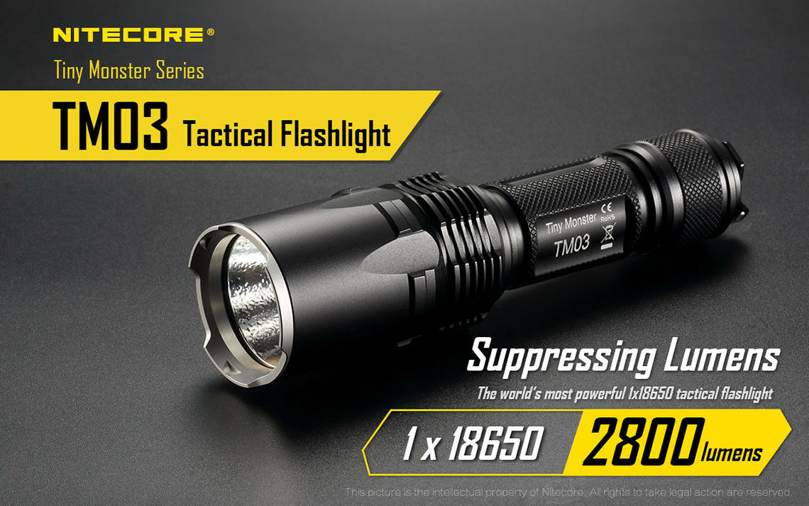 Nitecore TM03 2800 LuSies Cree XHP70 LED Rechargeable Flashlight FL-NITE-TM03