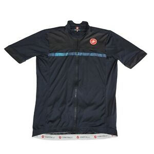 Castelli Men XXL Short Sleeve Full Zip Cycling Iridescente Jersey Black Scorpion