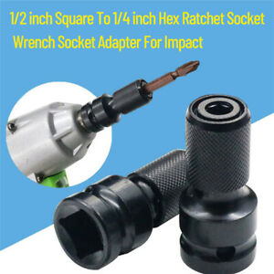1//2 Drive To 1//4 Hex Drill Chuck Converter Adapter Socket For Impact Wrench