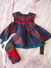 Marks & Spencer baby girl party occasion wedding dress & tights set NWT 0-3m