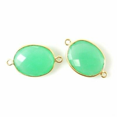 Sold Per 2 Pcs 14x18mm Faceted Oval Pink Chalcedony Bezel Gemstone Pendant