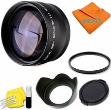 2X TelePHOTO Lens +UV FILTER+HOOD + CAP FOR CANON EOS REBEL T3 T3I XT 1000D T5I