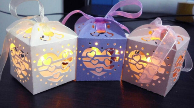 12pcs DIY Mini Gift Boxes Pierced Boxs For Wedding Party Wrap Candy LED Candles