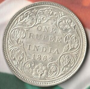1862 Empress Victoria British India 1 Rupee~~91.7% AG~ Silver Stunner~~