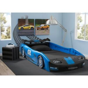 Image Is Loading Race Car Bed Blue Twin Kid Frame Toddler