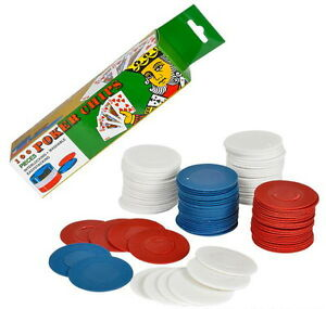 200 POKER CHIPS RED WHITE BLUE PLASTIC STACKING WASHABLE INTERLOCKING FAST SHIP