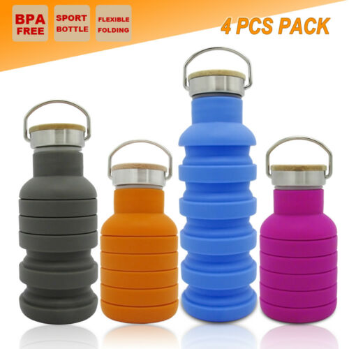 4x COLLAPSIBLE OUTDOOR WATER BOTTLE OFFICE HIKING TRAINING SPORT GYM KETTLE CUP