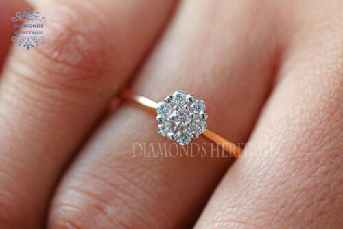 1Ct Round Cut Diamond White Prong Cluster Engagement Ring 14K Yellow Gold Over