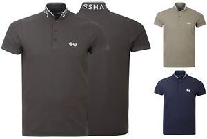 Mens-Polo-Shirt-Crosshatch-Collared-Cotton-T-Shirt-Short-Sleeve-Casual-Top-New