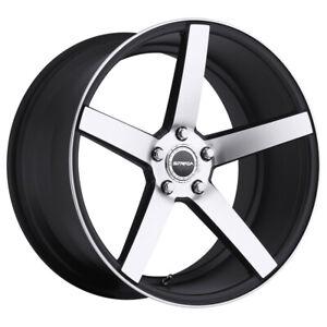 "4-Strada Perfetto 20x8.5 5x4.5"" +35mm Black/Machined Wheels Rims 20"" Inch"