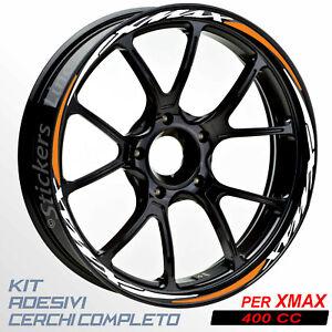 Adesivi-cerchi-ruote-XMAX-400-set-profili-BIANCO-ARANCIO-wheel-stickers-R-5t