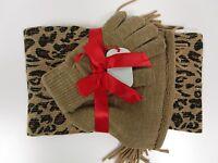 Cejon Scarf Set Gloves Hat Leopard Print Beige Gold Metallic Msrp $48