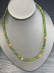 "Vintage Peridot Stone Beaded necklace  With Coral Color Accent Beads 18"" Long"