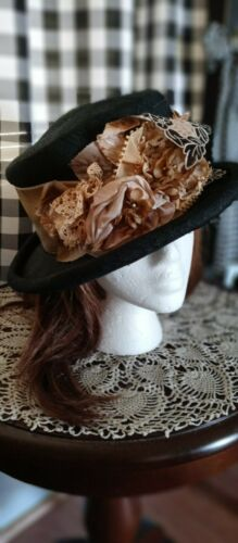 Louise Green Vintage black hat with gold / tan flo