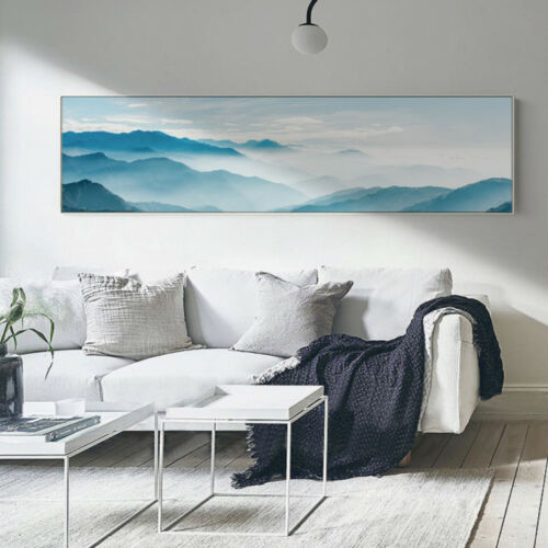 Extra Large Canvas Print Panoramic Blue Mountain Sky Digital Art Unframed